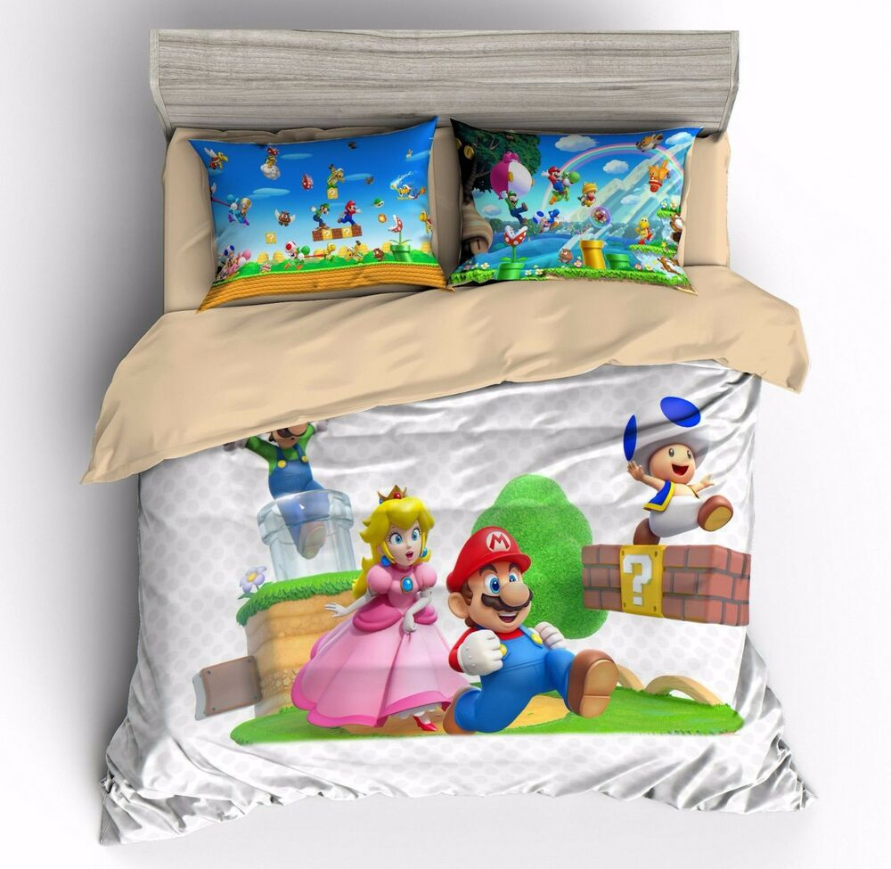 Super Mario Princess Peach Kids Bedding Duvet Cover Sets