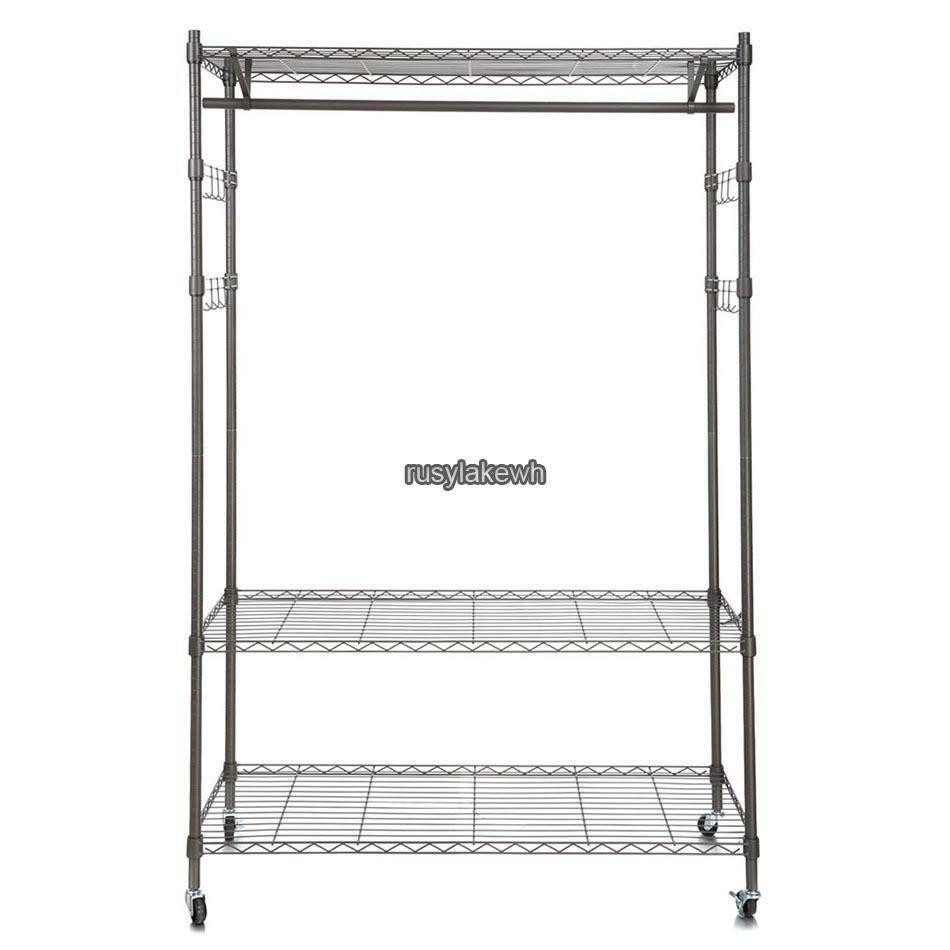4 Wheel Wire Shelving Clothes Garment Rack Rolling Shelf