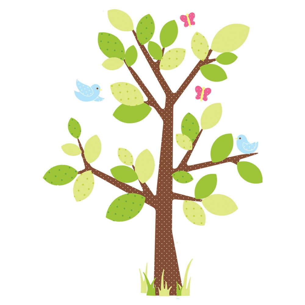Tree Mural For Nursery DOTTED TREE wall stickers MURAL 47 decals nursery room decor 50 inches high | eBay