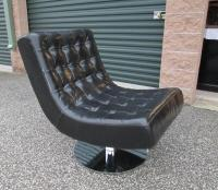 BLACK Mid Century Modern Tufted Scoop Lounge Swivel Chair ...