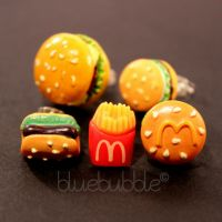 FUNKY BOYS MENS SINGLE FAST FOOD EARRING FUN COOL KITSCH