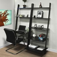 Leaning Shelf Bookcase With Computer Desk Office Furniture ...
