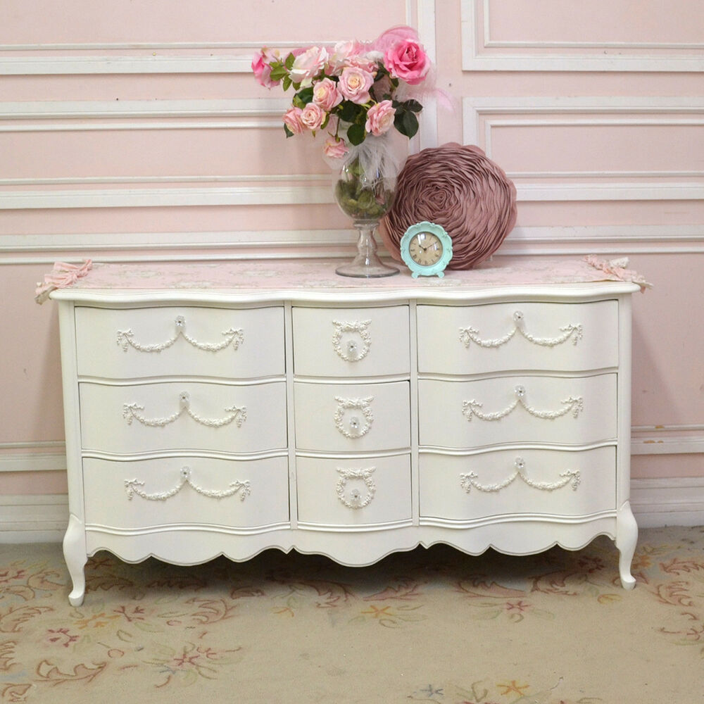 Vintage Look Möbel Shabby Cottage Chic 9 Drawer Dresser French Vintage Style ...