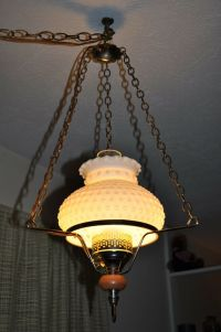 vintage MILK GLASS HOBNAIL GLOBE ELECTRIC SWAG LAMP LIGHT ...