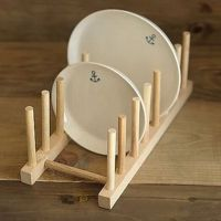 Kitchen Dish Plate Rack Holder Stand Wooden Wood Plates ...