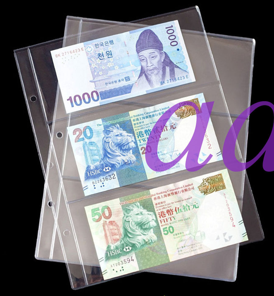 10pcs Currency Sleeves Holders 3 Pockets 85175cm For