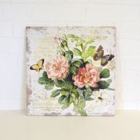 Shabby Cottage Chic Rose Canvas Print Wall Decor Pink ...