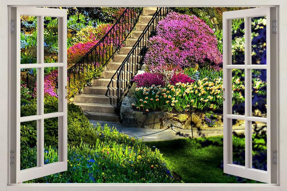 3d Stone Wallpaper Malaysia Garden View 3d Window Decal Wall Sticker Home Decor Art