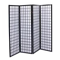 New Black 4 Panel Room Divider Screen Oriental Style Shoji ...