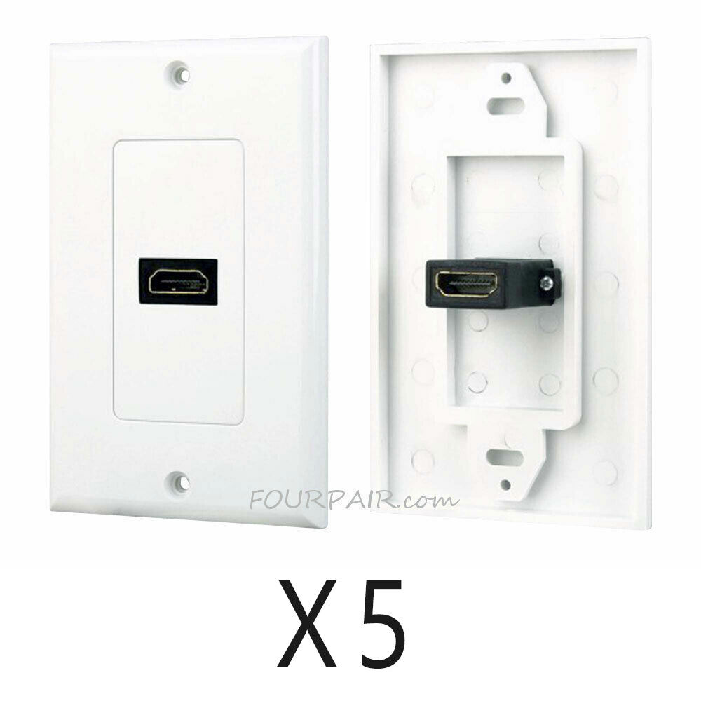 Hdmi Outlet 5 Pack Lot 1 Port Hdmi Wall Face Plate Panel Cover Outlet 4k Arc Hdr 3d White Ebay