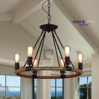 Iron Resin E27 Rustic Chandelier Ceiling Fixture ...