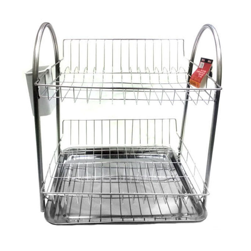 Stainless Stand Dish Drying Rack Double Shelf Sink Kitchen