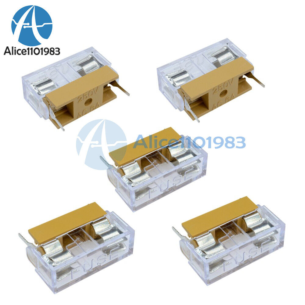 10pcs Panel Mount Pcb Fuse Holder Case With Cover For