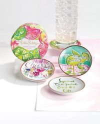 LILLY PULITZER CERAMIC COASTER SET of 4 CHEERS Cocktail ...