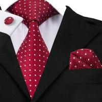 Hi Tie USA Classic Mens Red Polka Dots Silk Tie Wedding