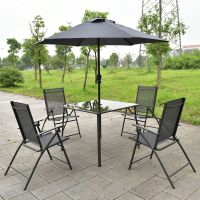 6PCS Patio Garden Set furniture 4 Folding Chairs Table ...
