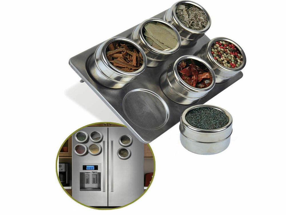 Stainless Steel Magnetic Spice Rack Pot Herb Tin Jar