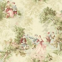 Wallpaper Designer French Toile Faux Tapestry Green Blue ...