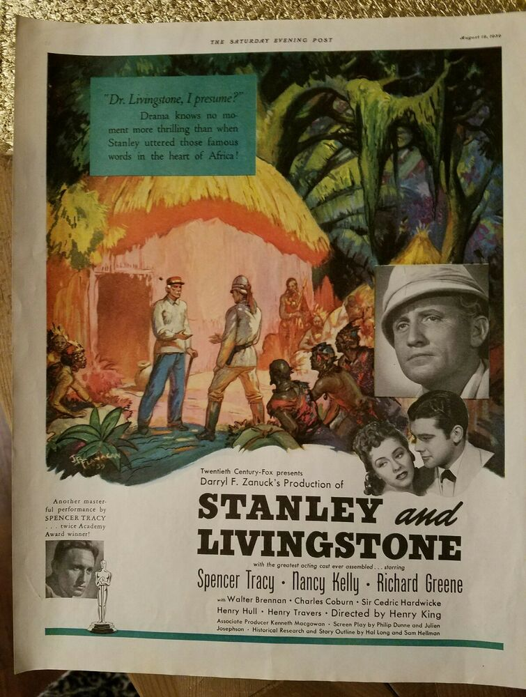 1939 Spencer Tracy Stanley and Livingstone movie color original ad