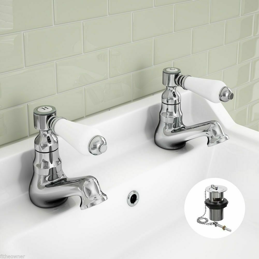 Bagnodesign Basin Taps Bathroom Basin Sink Taps Ceramic Lever Victorian Traditional Hot Cold Pair Ebay