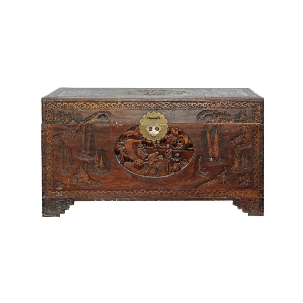 Motif Relief Oriental Asia Brown Relief Scenery Motif Carving Trunk Table Cs4349 Ebay