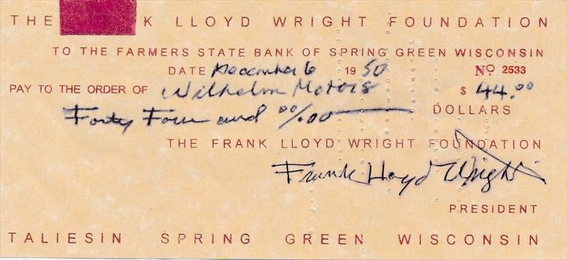 Frank Lloyd Wright- Signed Bank Check from 1950 eBay