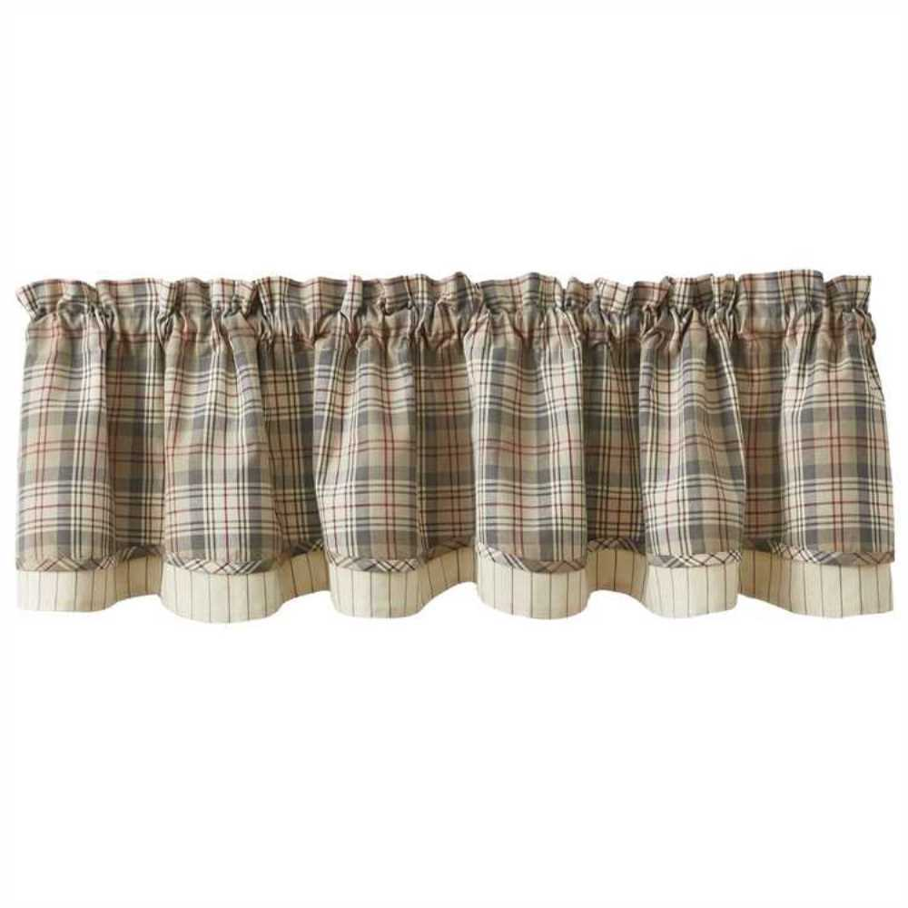 Plaid Taupe Gentry Layered Lined Valance 72x16 Taupe Gray Tan Red Cream Plaid Farmhouse Ebay