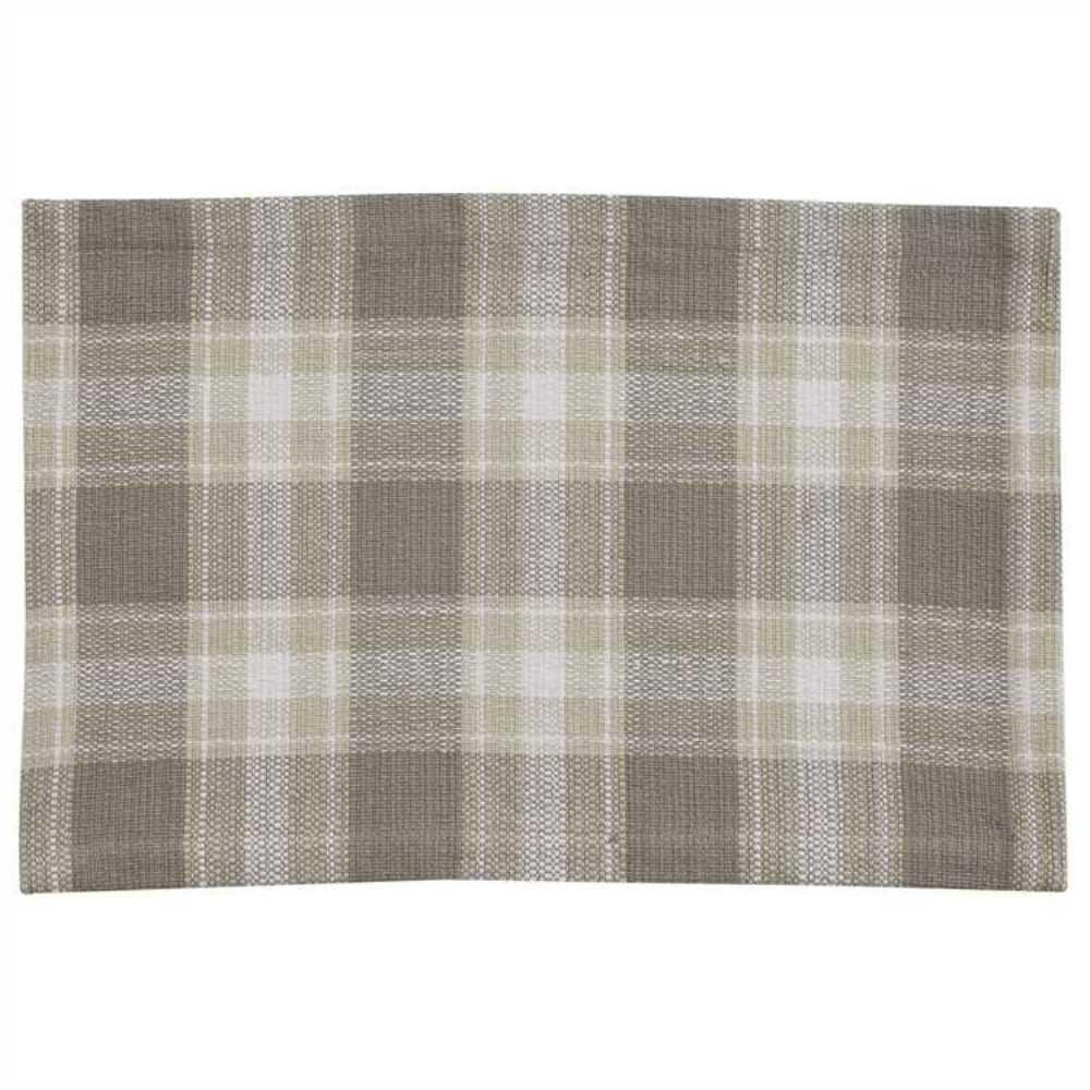Plaid Taupe Weathered Oak Placemat Set 2 Taupe Tan Ivory Plaid Country Farmhouse Dining Ebay