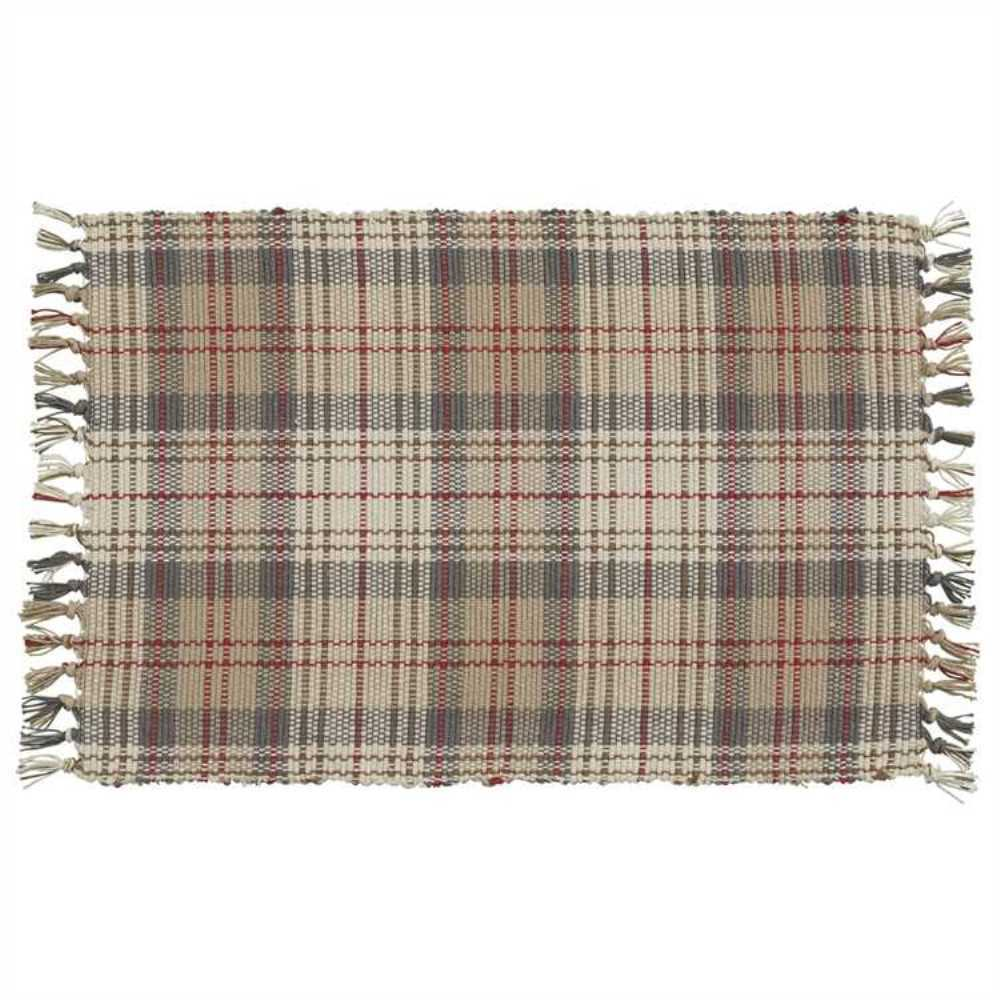Plaid Taupe Gentry Placemat Set 2 Taupe Tan Gray Cream Red Plaid Ribbed Cotton Farmhouse 762242997844 Ebay