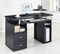 Black Computer Desk Home Office Table PC Furniture Work ...