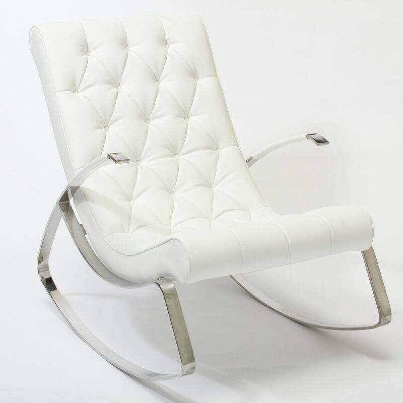 Barcelona City Luxury Modern Design White Leather Rocking