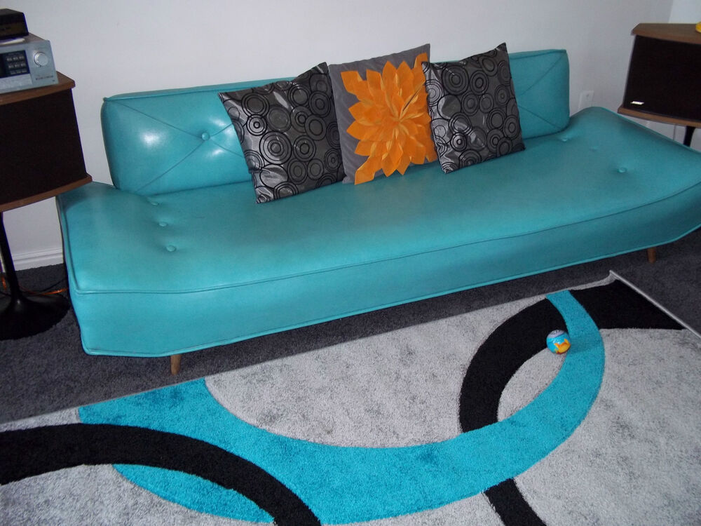 Retro Orange Vinyl Sofa Retro Vintage Teal/turquoise Vinyl Sofa! So Unique! | Ebay