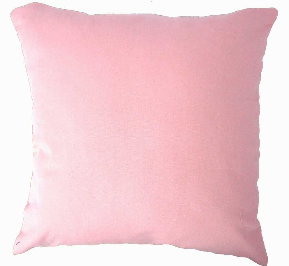 Aa143a Plain Solid Rose Pink Cotton Canvas Cushion Cover
