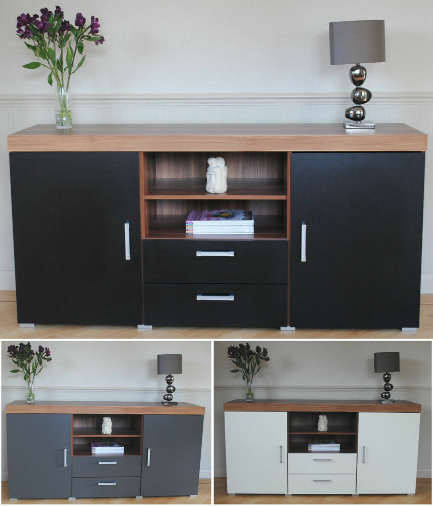 Large 2 Door 2 Drawer Sideboard Black White Grey Cupboard - Tv Sideboard