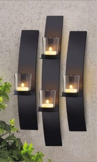 Set 3 Modern Black Metal Wall Mount Tea Light Candle ...