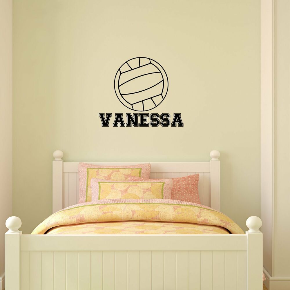 Comfortable Personalized Name Volleyball Vinyl Wall Decal Sticker ...