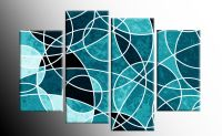 TEAL LARGE ABSTRACT CANVAS WALL ART PICTURE SPLIT 4 PIECE ...