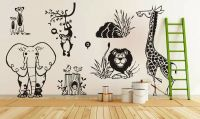 Jungle Animal Zoo living Wall Stickers kids Decal ...