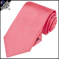 MENS DARK CORAL / MELON / SALMON 8.5CM TIE necktie wedding ...