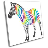 Abstract Zebra Animals SINGLE CANVAS WALL ART Picture ...