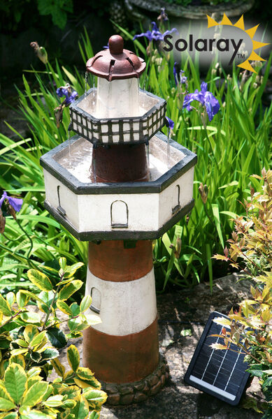 Fontaine Solaire Exterieur Solar Lighthouse Cascade Water Fountain 2 Tier Garden Yard