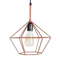 DIAMOND CAGE PENDANT Copper Tone Wire Lamp Light Retro ...