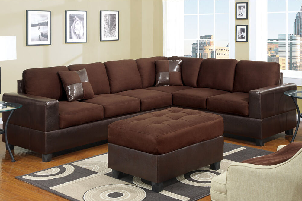 Ebay Sofas Sectional Sofa Couch Sectionals Sofas 2 Pc In Chocolate W