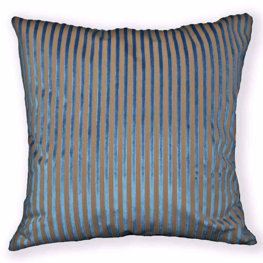 Ng21a Turquoise Blue Brown Stripe Linen Cushion Cover