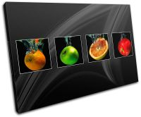 Fruit Apple Splash Food Kitchen CANVAS WALL ART Picture ...