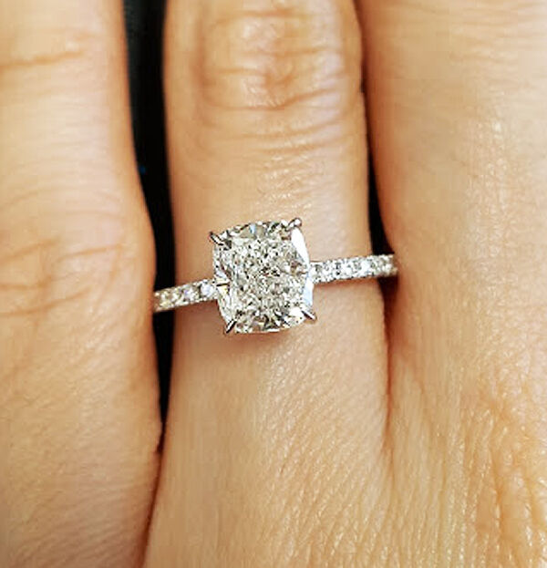 New 151 Ct Cushion Cut Diamond Solitaire W Accents