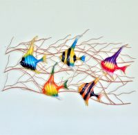 Home Garden Decor Colorful Metal Fish Wall Sculpture Wall ...