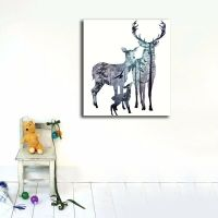 Elk Deer Family Stretched Canvas Prints Wall Art Kids Home ...