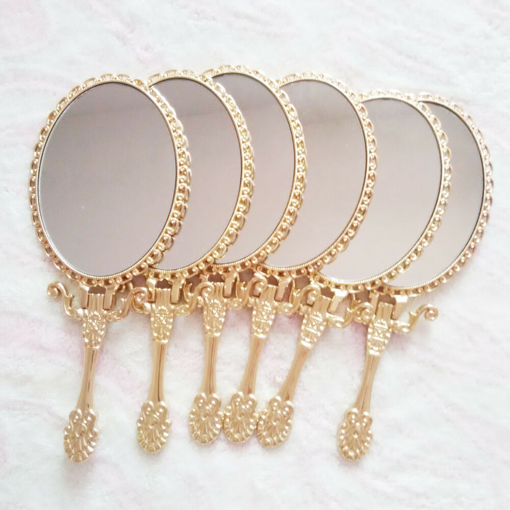 Oval Mirror Silver Frame Dual Handheld Standing Beauty Mirror Cosmetic Makeup