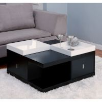 Contemporary Coffee Table Wood Modern Storage Drawer ...